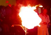 Red Explosion at Outdoor Chemistry Magic Show