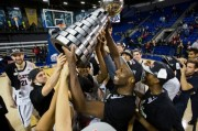 Men's BB team holding the Wilson Cup at 2016 national CIS championships