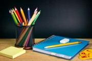 pencils, papers, notebook