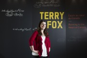 Erin Gurski in front of a Terry Fox sign