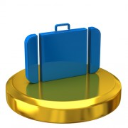 suitcase on a gold base