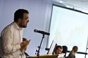 Alumnus speaking at Political Economy celebration