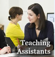 """2 students with """"Teaching Assistants"""" written on the image"""