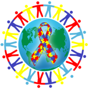 World Autism Day logo 2013 - people holding hands around the globe