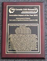 Plaque of the IBM Innovation Impact Award