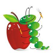 cartoon caterpillar leans against an apple