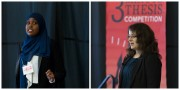 collage of Faisa and Kate at the 3MT