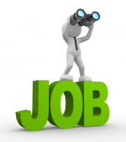 "Clipart of a little guy with binoculars on the word ""Job"""