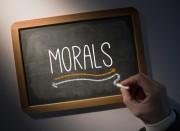 """""""morals"""" written on chalkboard"""