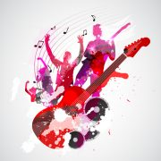 guitars and musical notes