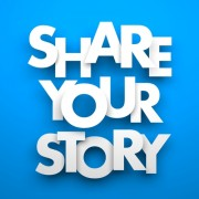 """share your story"" on blue background"