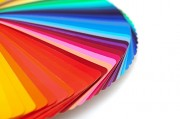 Different coloured paint sample strips