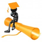 Clipart figure sitting on a diploma