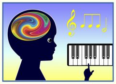 Head and brain with a music keyboard