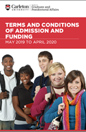The cover of the terms and conditions of admission and funding may 2019 to april 2020 booklet which has a group of students on it
